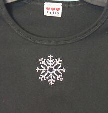 Rhinestone Snowflake Black Ladies Juniors Fit T-Shirt Size Small