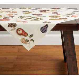 Pottery Barn Embroidered Gourds Table Throw 50x50 NEW