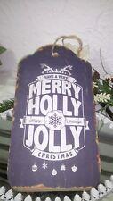Holzschild Bild Christmas Weihnachten Have a Merry Holly 27cm