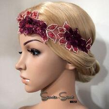 1920s Gatsby Flapper Wine Red Flower Lace Fascinator Headpiece Wedding Headband