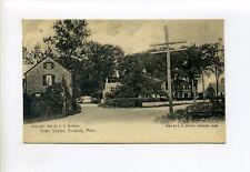 Duxbury MA Mass Town Square, street view, homes, antique postcard, 1905