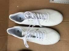 a968b365941 Divided H   M WHITE PATENT LEATHER W GOLD BACK SNEAKERS TENNIS SHOES SIZE  9.5