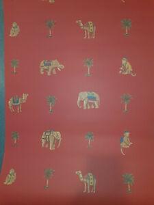 NOS VINTAGE Beautiful Rolls Designer Wallpaper THIBAUT T6435 CIRCUS ELEPHANT MON