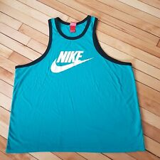 Vtg Nike 2Xl Ringer Tank Top Beater Teal Blue White Swoosh Muscle Shirt Triblend