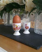 Set of 2 (Pair) Bone China Funky Owl Hearts Egg Cup Hand Decorated In Wales