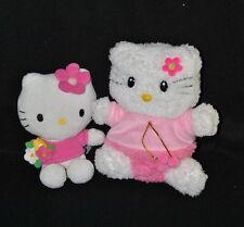Lot 2 peluche doudou Hello Kitty SANRIO blanc & rose14 & 18 cm TTBE