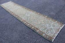 "14x3 Vintage Handmade Turkish Anatolian Oushak Runner Rug 14'2""x3'"