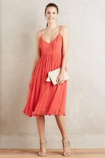 NWT SZ 4 $178 ANTHROPOLOGIE MARANA CHIFFON DRESS BY HD IN PARIS RED FIT & FLARE