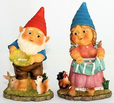 GARDENING GNOME MR or MRS WITH BUNNY OR HEN COMPANION 26CM Cheeky Gnome*