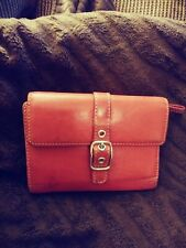 Coach ZOE Vintage Red Leather Buckle Billfold & Coin Wallet Credit Card Holder