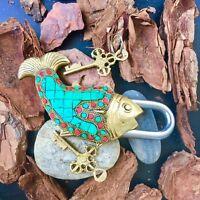 Fish Antique lock Vintage style Brass Padlock working lock skeleton key love loc