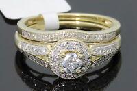 10K YELLOW GOLD .50 CARAT WOMENS REAL DIAMOND ENGAGEMENT RING WEDDING BAND SET
