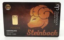 Geschenkkarte - Sternzeichen Steinbock - Goldbarren 999.9 LBMA zertifiziert 0,5g