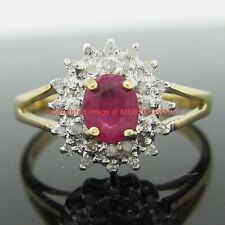 Diamond Not Enhanced Ruby Fine Rings