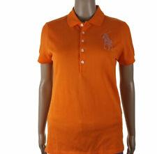 Ralph Lauren Taglia M 95% Cotone Maglia Maglietta T Shirt Colletto Polo Donna