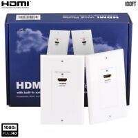 2 Pcs HDMI Extender Wall Plates 30M 100FT Over Cat6 Ethernet Cable HDTV 1080p