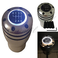 Manual Stick JDM Shift Knob White LED Light MT Gear Sport Silver Base #t24 Autos