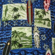 Hawaiian Shirt Size XL Surfboards Turtles Palm Trees Ship Coyote Los Cabos Blue