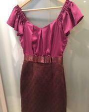 Women's MAX AND CLEO Wine Burgundy Purple Ruffle Sleeve Dress Size 4