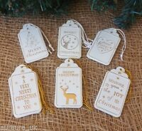 Set 12 White Gold Silver Metal Christmas Decorations / Gift Tags Tree Heart Deer