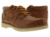 Mens Cognac Brown Genuine Crocodile Ostrich Skin Sneaker Shoes Western Cowboy