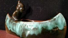 Collectable McMaster Craft Pottery Indian Brave In Canoe Blue Green Glaze