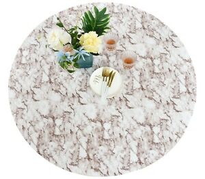 Vinyl Tablecloth Round Fitted Elastic Flannel Back Beige Marble Pattern 36-56''