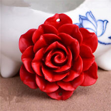 1pc Red Cinnabar Carved Flower Pendant Beads DIY Jewelry Gift 8 Styles #7