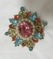 Vintage Gold Tone Pink, Aqua & Crystal Rhinestone & Faux Pearl Brooch