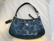 """Coach Leather Suede C Fabric Blue Small Bag 8.5 x 5 x 2.25"""""""