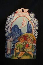 Vintage Half Moon And Big Eyed Children, Kissing Valentine Card 1920S Germany