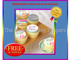 Good Luck New School Edible Rice/Wafer Paper Cupcake Cake Toppers
