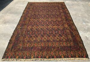 Authentic Hand Knotted Adraskan Balouch Kilim Wool Area Rug 6 x 4 Ft (1319 HMN)