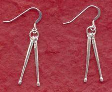 Sterling Silver Drumstick Earrings New Solid 925 3D Drum Sticks drumsticks