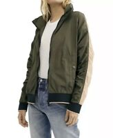 NWT FREE PEOPLE Army Combo Green Long Sleeve Bomber Hooded Jacket Sz XS $98