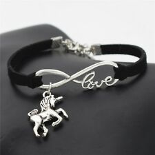 Vintage Animals Silver Lucky Horse Unicorn Charms Love Women Bracelet Gifts(621)