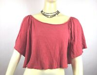 We the FREE People Washed Red Flowy Crop Top sz S Women's top shirt Linen Blend