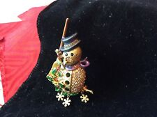 Kirks folly 90's  rhinestone snowman pin  with pink box free ship signed