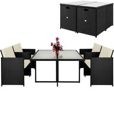 Poly Rattan Sitzgruppe Gartengarnitur Essgruppe Gartenmöbel Lounge Cube Sessel