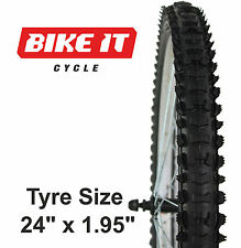 "NEW ECONOMY MTB TYRE 24"" x 1.95"" KNOBBLY TREAD MOUNTAIN BIKE BICYCLE CYCLE TIRE"