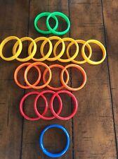 Set of 17 Vintage Bangle Bracelets Hard plastic 1980s -red, green, Yellow, Blue