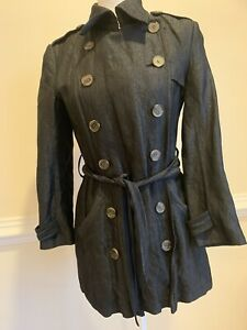 GRYPHON New York Sz S Women's Belted The Timeless Mini Trench Coat Black. EUC