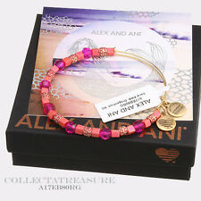 Authentic Alex and Ani Coral, Dragonfruit Rafaelian Gold Charm Bangle
