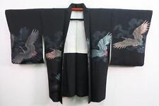 07a7112 Silk Vintage Japanese kimono Haori Jacket Crane Birds