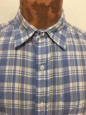 L.L. Bean Mens S Blue Yellow Plaid Short-Sleeve Cotton Shirt