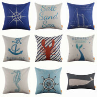 Square Cushion Cover Home Decor Sofa Whale Throw Pillow Case Nautical Sea Anchor
