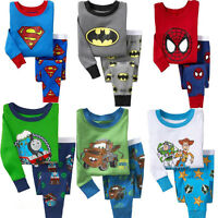 Cotton Baby Kids Toddler Boys Cartoon Pajamas Sleepwear Nightwear Cloth Set Suit