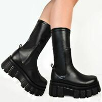 Womens Platform Stretchy Boots Comfy Black Punk Goth Pull On Calf Ankle Shoes