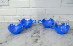 Eames Era Mid Century 4 PYREX Roly Poly Cups Electric Blue Cup Holders