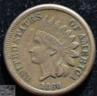 1860 Copper Nickel Indian Head Penny, Cent, Very Fine+ to Extremely Fine, C5141